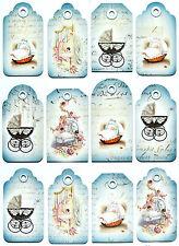 A/4 Scrapbook Papel Regalo & Colgar Hoja 12 Etiquetas Recién Nacido Azul