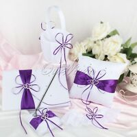 5xWedding Guest Book & Sign Pen & Ring Bearer Pillow & Flower Basket Party Favor
