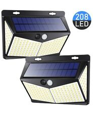 208 Led Solar Lights Outdoor, 3 Modes, 270°Beam Angle, IP65 Waterproof, 2- Pack