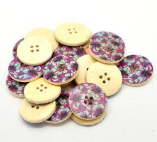 "10 Wooden Buttons Round Purple Flower design 25mm(1"") Sewing Scrapbook craft"