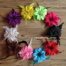 10pcs baby dance feather Clip flowers Daisy for Crochet headbands hair accessory