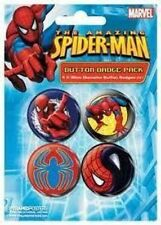 THE AMAZING SPIDERMAN  4 PACK OF BADGES NEW AND SEALED