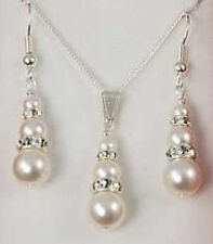 1 set 6-8-10mm bridal white shell pearl & crystal pendant necklace earrings 17''