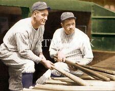 Babe Ruth & Lou Gehrig Iron Horse 8x10 Colorized Photo New York Yankees Baseball