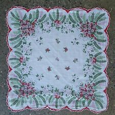 "Vtg Floral Handkerchief Scalloped Border Fern Pink Red White Flowers 13"" x 13"""