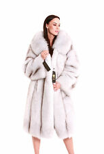 GENUINE BLUE FOX FUR COAT with HOOD jacket size L / XL 100% REAL NATURAL NEW
