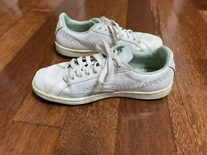 PUMA Womens match Lo Tennis Lace Up Shoe -US 8- White And Green + Free Postage