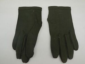 **DESIGNER  LADIES OLIVE GREEN DOUBLE  WOVEN  COTTON GLOVES UNLNED SIZE 6.5