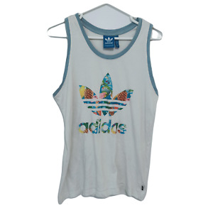 Adidas Originals Mens Sleeveless Shirt Size M White Trefoil Logo Muscle Tank Top