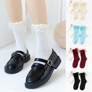 Women's Lace Stockings Trim High Knee Socks Lolita Cotton Casual Sock Hosiery