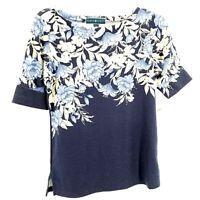 Karen Scott Womens Blouse Blue White Floral Short Sleeve Boat Neck Top XS New