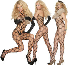 Elegant Moments Sexy Black Diamond Net/Fishnet Bodystocking/Body