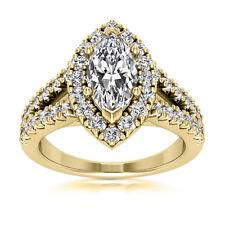 Split Shank Halo 2.62 Carat VS1/H Marquise Diamond Engagement Ring Yellow Gold