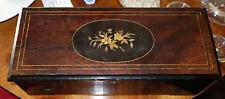 Walzenspieluhr,1880,6 Melodien,schöner Zustand,funktioniert,intarsiert Holzbox