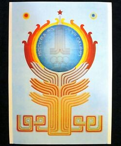 Poster 100% Original USSR Soviet Russia Ornament Moscow 1980 Olympic Games