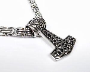 Thors Hammer Thorhammer Anhänger Edelstahl Kette Königskette Mjölnir Wikinger