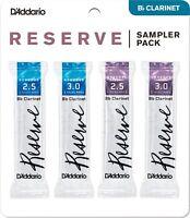 D'Addario Rico Reserve Clarinet Reed Bb (B - Flat) Sampler Pack 4 Reeds 2.5 3.0