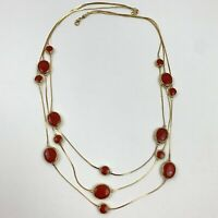 Vintage Avon SP Liquid Multi Strand Gold Tone Red Enamel Chain Drape Necklace