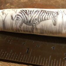 Vintage Warthog Wild Boar Tusk Carved Zebra  Key Chain  Pendant  Scrimshaw
