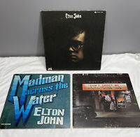 "Lot Of 3 Elton John Vintage Vinyl Record Albums 12"" 33 RPM"