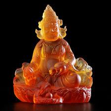 Tibet Buddhism yellow liuli glaze Glass handmade Jambhala Mammon Buddha statue