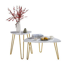 2PCS Coffee Table Set Iron Foot Side Table Set 2 Sizes Faux White Marble Gold