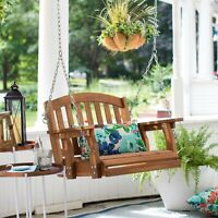 Outdoor Wooden Porch Swing Hanging Chair Single Seat Furniture Tree Backyard
