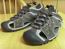 MENS ADVENTURIDGE RUGGED BROWN LEATHER SPORT SANDALS WATER SHOES, 10, WORN ONCE