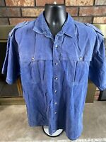 Vintage Blue Red Head Brand Short Sleeve Button Hunting Shirt Mens Size XL T Vtg