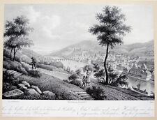 c1830 Heidelberg Philosophenweg Gesamtansicht Litho Faure Graimberg