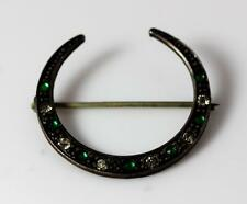 "Vintage Pre-1930 Green & White Rhinestone Crescent Moon Pin 1.25"" – 10021"