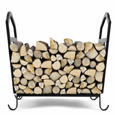 Fire Wood Stove Stacking Rack Fireplace Log Holder Wrought Iron Indoor& Outdoor