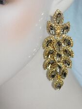 GOLD WITH GOLD MARQUISE AND ROUND RHINESTONE CRYSTAL PARTY EARRINGS /3046
