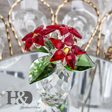 Crystal Small Poinsettia Collectible Holiday Ornament Christmas Flowers Figurine