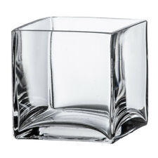 "4"" Square Clear Glass Vase - Cube Centerpiece 4x4x4 Wedding Decoration Handmade"