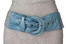 New Women Fashion Belt Hip Waist Bright Blue Elastic Fabric Silver Waistband S M