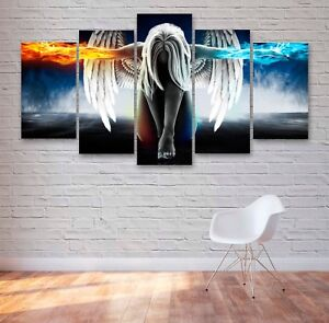 Fire & Ice Angel 5 Panel Canvas, 5 Piece Wall Art, Multi Panel Canvas #177