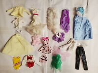 6F~TLC39~ MIXED BARBIE DOLL FASHION CLOTHING USED CLOTHES TLC LOT FOR OOAK PLAY