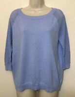 Gap Small Sweater  Blue 3/4 Sleeve Scoop Neck Cotton Knit Lightweight Pullover