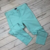 NYDJ Ankle Jeans Size 12 Womens Aqua Blue Slim Straight Leg Stretch Denim