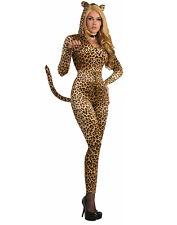 Leopard Zip Up Jumpsuit Womens Adult Wild Cat Halloween Costume
