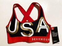 NWT Under Armour Small USA Mid-Impact Crossback Americana Sports Bra