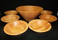 QUALITY HEIRLOOM WOODEN WARE ROUND 'RUSTIC OAK' WOODEN BOWLS SALAD SET, 7 PIECES