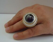 LARGE VICTORIAN STYLE COCKTAIL RING W/ 7 CT AMETHYST/SZ 5-9 /925 STERLING SILVER