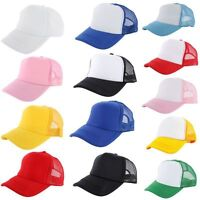 New Plain Baseball Cap Solid Trucker Blank Curved Visor Hat Mesh Adjustable Cool