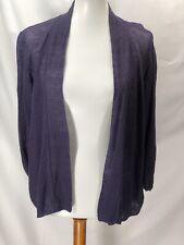 Eileen Fisher Womens Purple Linen Knit Sweater Open Front Size PL