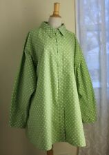 "Silhouettes Sz 4X Lime White Polka Dot Lagenlook Funky 34"" Long Tunic Shirt Top"