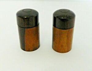 Antique Traveling Ink Bottles Encased in Treen Wood Case Inkwells Lot of Two
