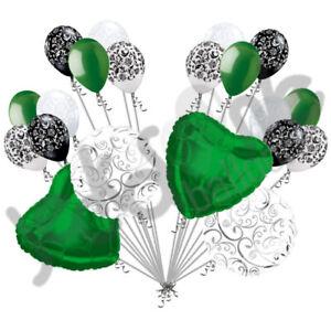 20 pc Green Heart & Swirl Balloon Bouquet Wedding Bridal Shower Anniversary Love
