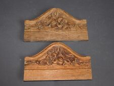 2 FRONTONS/ORNEMENTS EN BOIS SCULPTE DE FLEURS  ANTIQUE WOOD SCULPT  F334